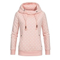 Hoodies Women Sweatshirt dots Print Casual Long Sleeve Scarf collar Autumn warm Hooded Pockets Pullover Tops size plus S-5XL new