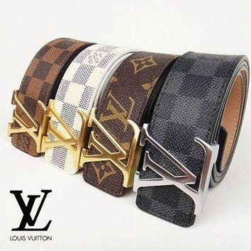 Louis Vuitton LV Classic Girls Boys Women Men Leather Smooth Buckle Belt