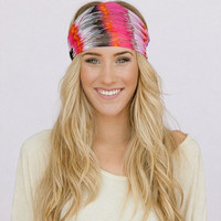 Feather Headband Wide Chiffon Bohemian Hippie Head Wrap in pink StretchY Elastic Women's Hair Accessories Head Covering (HB-WDE100A)