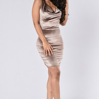 Drape Escape Dress - Mocha