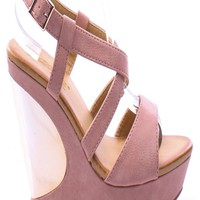 OFF PINK FAUX LEATHER OPEN TOE ANKLE STRAP PLATFORM WEDGE