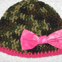 Pink Bow Camo Hat Little Hunting Girl Beanie Camo Baby Hat Baby Shower- save for a follow