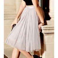 Stylish Elastic Waist Solid Color Ball Gown Voile Skirt For Women