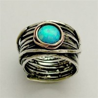 Engagement ring - Sterling silver and rose  gold ring with blue opal gemstone - Imagine life in peace 2
