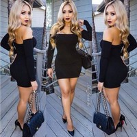 Women's Fashion Strapless Long Sleeve Skirt Slim Sexy Summer One Piece Dress [9266835596]