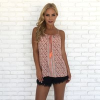 Floral Fray Coral Print Cami Top