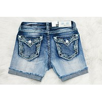 GRACE IN L.A. GLITZY SKETCH EASY ROLLED SHORTS