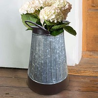 Galvanized Metal Corrugated Flower Vase with Curved Side Handles, Gray and Brown