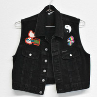 Patched Guess Black Denim Vest