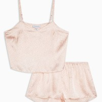 Blush Heart Print Satin Pyjama Set | Topshop