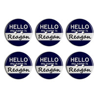 Reagan Hello My Name Is Plastic Resin Button Set of 6