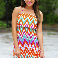 Manhatten Sunset Chevron Dress: Multi | Hope's
