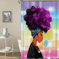 Purple Afro - Shower Curtain - Home Decorations