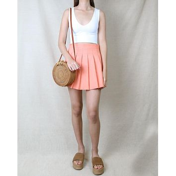 Princess Pleated Mini Tennis Skirt in Peach