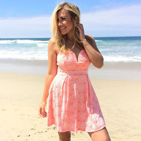 Buttercup Bloom Lace Dress In Neon Coral