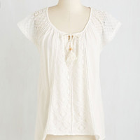 Boho Mid-length Short Sleeves Heart and Solo Debut Top by ModCloth