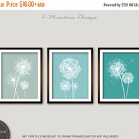 ON SALE Dandelion Wall Art Prints, Seafoam, Rain and Teal Flower Art, Bedroom Bathroom Floral Art Set of (3) 5x7, 8x10 or 11x14, Home Decor