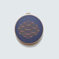 """Geometric Embroidery in Pink and Orange - 7"""" Embroidery Hoop"""