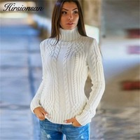 Hirsionsan Sweater Women 2018 Autumn Winter Knitted Solid Turtleneck Women Sweaters and Pullovers Casual Jumper White Pull Femme