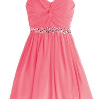 Dressystar Short Chiffon Bridesmaid Dresses Strapless Girls Prom Gowns Size 2 Coral