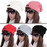 Woman Stylish Pure Color Slouchy Cable-Knitted Winter Cap Hat