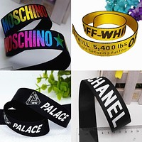 1meter Printed English letters Logo belt Clothing decorative accessories ribbon manual polyester DIY free style tape off white