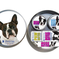 BOSTON TERRIER GIFT: 1 oz Tin, .50 oz Slide Tin and .15 oz tube Nose Butter Boston Label, 1 oz Tin Boo Boo Butter, .50 slide tin Paw Butter