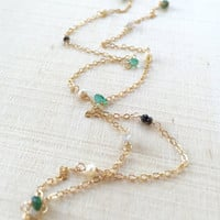 Tiny, Semiprecious Gemstone Station Necklace with Freshwater Pearls, Rough Diamonds, Genuine Emerald Briolettes and Rondelles, 14k Gold Fill