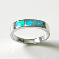Opal Ringinlaid Opal RingSterling Silver by HWSTAR on Etsy