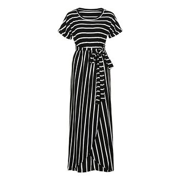 Striped front slit black maxi dress women Short sleeve bow sexy long dress Holiday elegant summer wrap dress 2019