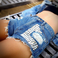 Vintage high waisted studded denim cut offs by by Jeansonly