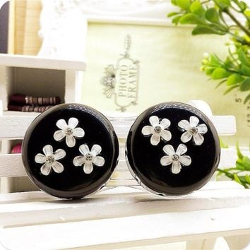LIUSVENTINA DIY resin flower double US-pupil storage box contact lens case for eyes contact lenses box for glasses