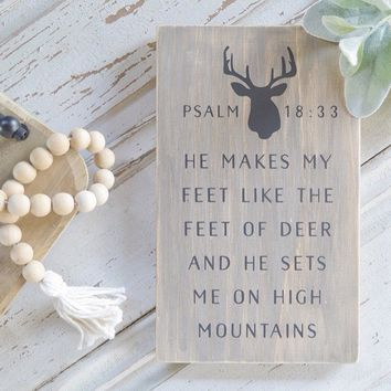 On Mountains Deer Antlers Sign Psalm 18:33