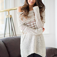 Rumor Has It Off Shoulder Knit Sweater (Taupe)