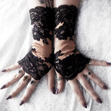 Laud Long Lace Fingerless Gloves - Black Bordered Floral Scroll w/ Rose Gold Champagne - Victorian Wedding Gothic Dark Burlesque Goth Bridal
