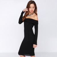 Black Long Sleeve Off-shoulder Bodycon Dress