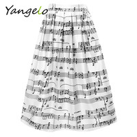 New Fashion American Apparel Vintage High Waist Print Music Notes Pleated Skater Flared Skirts