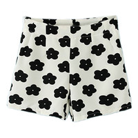 ROMWE Zippered Floral Print White Shorts
