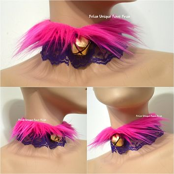 Cheshire Cat Fur Bell Lace Lolita Choker Gothic Necklace with Bell