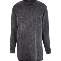 River Island MensGrey acid wash long sleeve sweatshirt