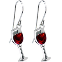 Stainless Steel Red Wine Glass Earrings   Body Candy Body Jewelry