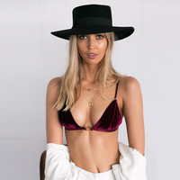 Sexy Velvet Backless Crop Top Push Up Bra Women Lingerie Tank Tops Strappy Bra Deep V Neck Bralette Top Camisole