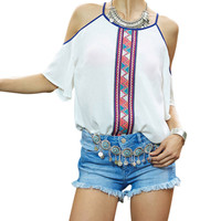 2016 New Summer Strapless Blouse Women Female Patchwork Chiffon Tops Shirt Casual Women Blouse Off Shoulder Plus Size