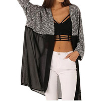 Autumn Winter 2016 Women Knitted Long Cardigan Sweater Lady Sexy Casual Chiffon Patchwork Cardigans Women Knitted Clothing GV281