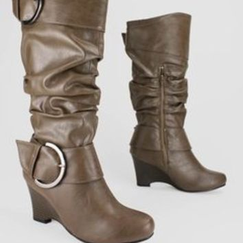 New Shoes: slouchy leatherette wedge boot $28.60 in BLACK BROWN CAMEL TAUPE - New Shoes | GoJane.com