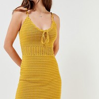 UO Tie-Front Crochet Mini Dress | Urban Outfitters