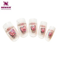2016 Brand New French Fake Nails Metallic Butterfly Christmas Nails Full Cover Acrylic Nail Tips Gift Set 10 Sizes 237#
