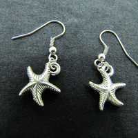ancient vintage style,silvery  starfish earrings, unique cute earrings EH52