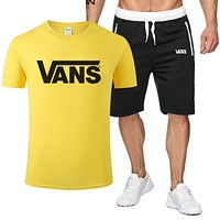 Onewel Vans Tee Classic Two Piece Sports Suit Top Shorts T Shirt Yellow