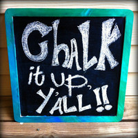 Wooden Hand Painted Chalk Board Sign, Blue, Green, & Turquoise streak pattern